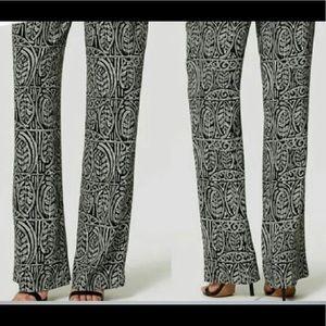 LOFT Leaf Print Black/Ivory Wide Leg Palazzos—6